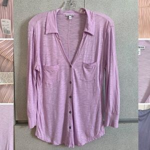 Lilac / light purple 3/4 sleeve collared shirt